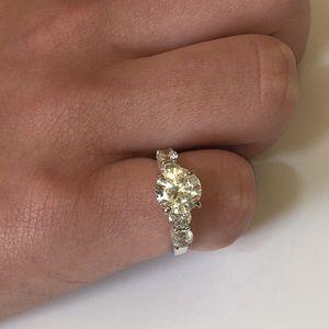 925 Sterling Silver Diamonique CZ Diamond Ring